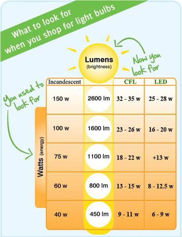 Efficiency Light Bulb Lumens to Watts Guide