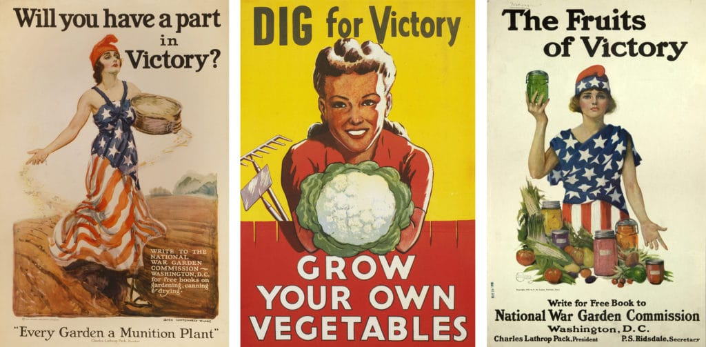Victory Garden window hangings from the 1930s and 1940s that encouraged families to plant vegetables that they could harvest themselves in order to keep the food supply lines undisturbed for the American military overseas.